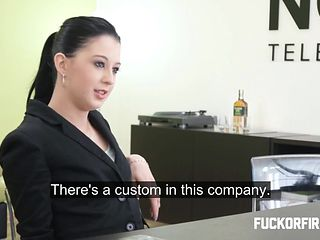 Teeny brunette fucks and sucks her boss