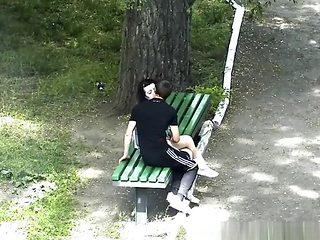 Teen couple park handjob