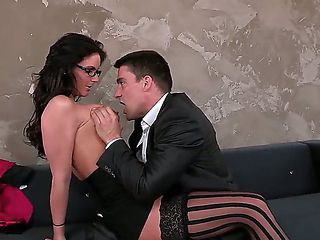 Adorable secretary Phoenix Marie seduces her horny boss Toni Ribas with her big knockers and is n...