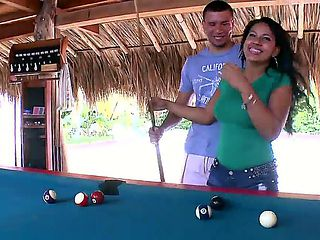 Sexy Roxana and her handsome stud begin to play billiards. she soon has other ideas and begins pl...