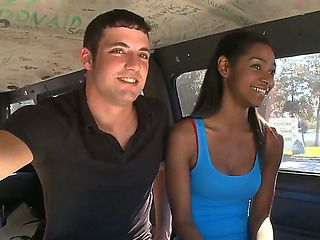 Pretty white pal tries to seduce cool ebony chick to have nice screw with him right in a bang bus...
