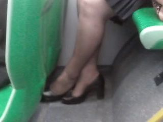 mature bbw pantyhose in bus (she know I filming)