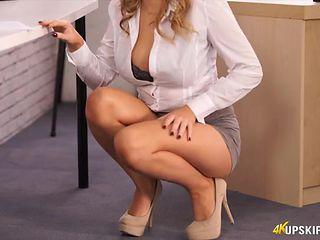 Smoking hot secretary does an upskirt tease for you