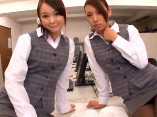 Incredible Japanese chick Mai Yuzuki, Saki Asahina in Exotic Foot Job, Office JAV scene