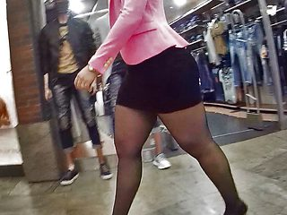 pantyhose mall girl teasing
