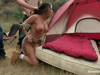 brunette getting gang banged outdoors