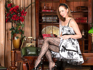 Katie White in Lacey Pantyhose - Anilos
