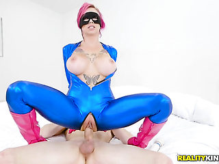 Piercings Alex Davis with gigantic tits and bald twat is curious about taking cumshot on her love...