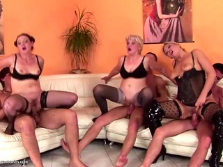 3 on 3 mature mothers fuck young sons at party