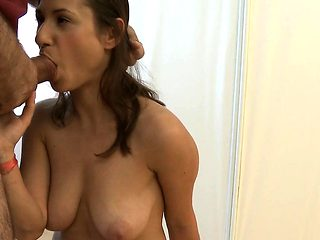 Hot playgirl is showing her bald pussy to her doctor