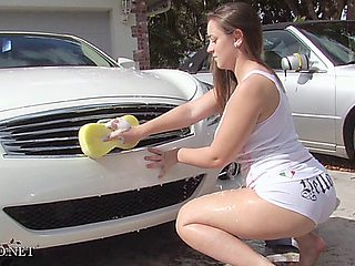 Tiffany Car Wash Booty Outdoors In Front Of The House