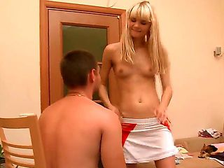 Cute blonde girl from this action looks awesome. She is stripping before pretty dude before stand...