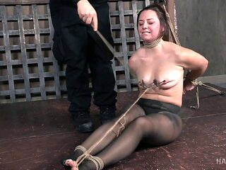 Alluring Sasha with hot ass getting tied with ropes in BDSM