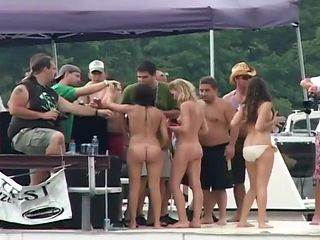 Hot Chicks Getting Naked & Wild On Boat
