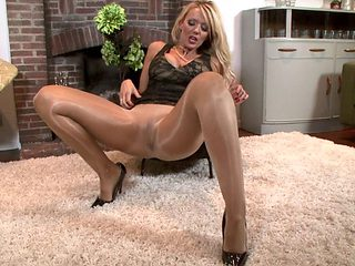 British Babe In Glossy Pantyhose