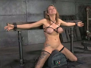Chick with tied up boobs is face fucks by brutal master