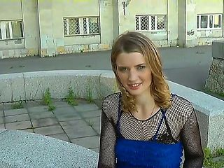 Slutty blond chick from Russia is filmed by a foreign tourist. He liked her green eyes and filmin...