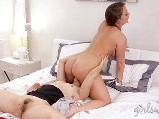 Curvy Maddy Oreilly rides her lesbian lover for hot licking