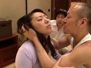 Aya Kitagawa nasty Asian mature chick in threesome DP