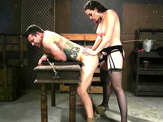 Mistress Fucking Herself With Submissive Cock