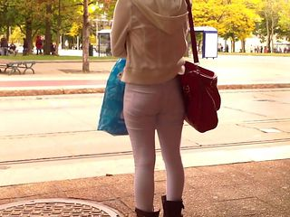 Asian train stop chick booty capture