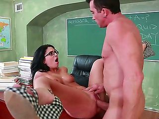 Hot college teacher Madelyn Monroe decides to fuck with her handsome and strong student Billy Gli...