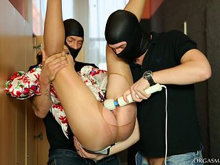 Masked men use a pantyhose wearing lady like a slut