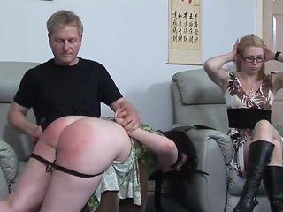 Plump girl spanked