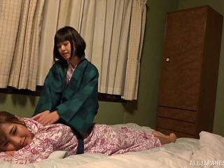 Japanese babes in traditional clothes and their lesbian adventure