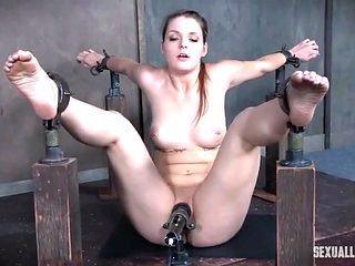 Sub girl in hard bondage fucked in the mouth