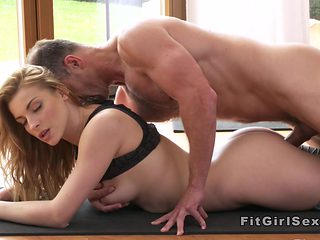 Yoga coach bangs blonde from behind