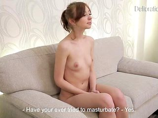 Teen virgin strips and interviews in casting porn