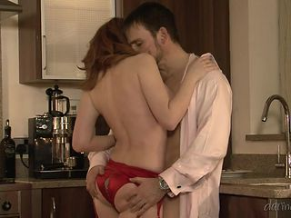 sexy redhead sucks him off in the kitchen @ a lover's tryst