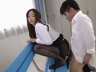 her nylons feel so good on my stiff cock