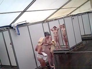 Improvised shower tent hidden camera