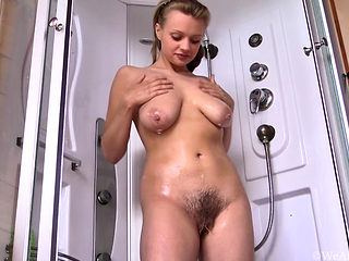 Sexy Blonde Rubbing Her Hairy Snatch In The Shower