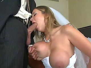Her groom is absolutely drunk! However sexy bride Alanah Rae does no want to spoil te moment of t...