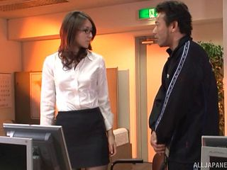 Beautiful Japanese secretary and her horny boss fucking