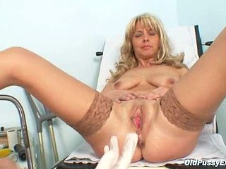 Mature Jirina With Her Legs Wide Open On Gyno Chair