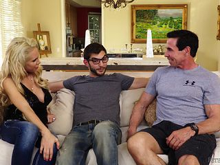 Mature guy watches the stunning blonde getting shagged by another guy