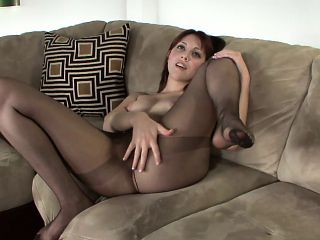 Pantyhosed redhead with lovely boobs Nickey Huntsman touches herself