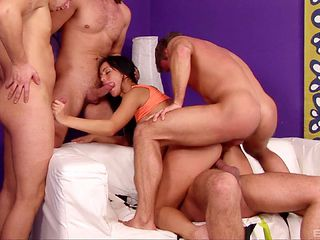 Thick dark-haired chick found herself in the middle of a gangbang