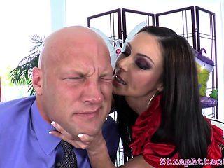 Bigtits dominatrix disciplines her sub