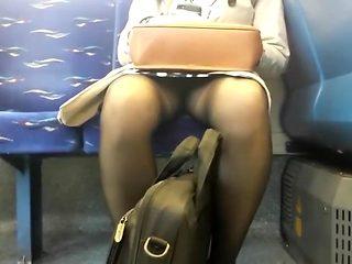 Voyeur checks out milf's skirt out