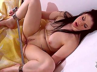 Tempting dark haired Lucia Love with big natural knockers and large labia is left alone naked in ...