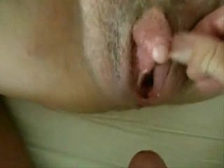 Playing with huge clit pussy