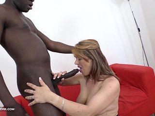 My step mom fucks my black teacher swallows his cum blowjob