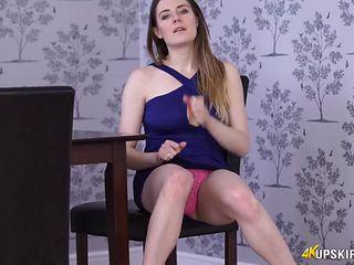 Skintight dress on a JOI babe flashing her panties
