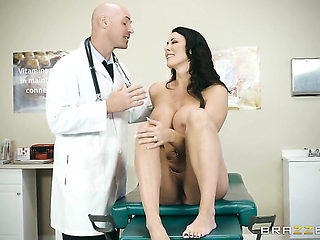Johnny Sins is horny and cant wait any longer to drill Brunette with huge breasts with his stiff ...