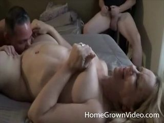 Cuckold watches his curvy wife with another guy